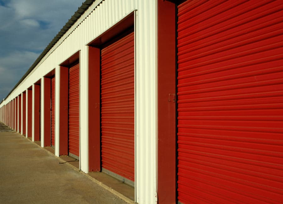Commercial warehouses painted with bright red paint