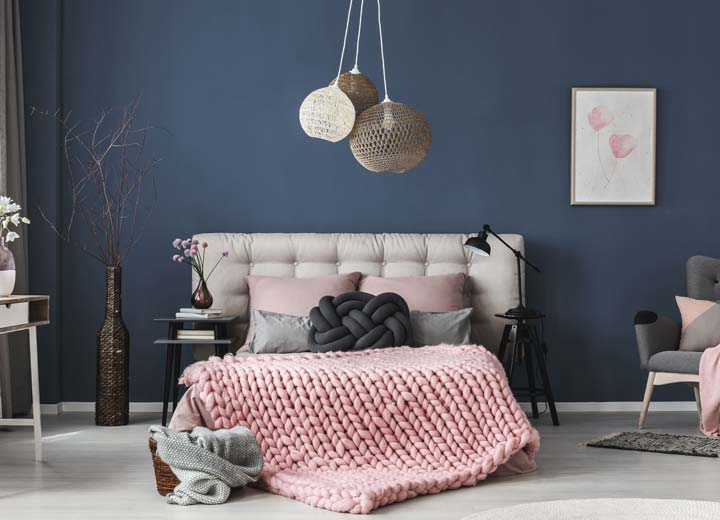 Navy bedroom and white trim painted professionally