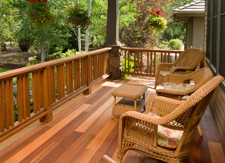 Stained wooden deck in home backyard