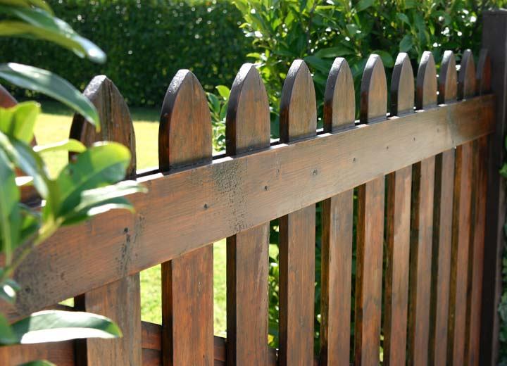 Dark stained wooden fence in backyard