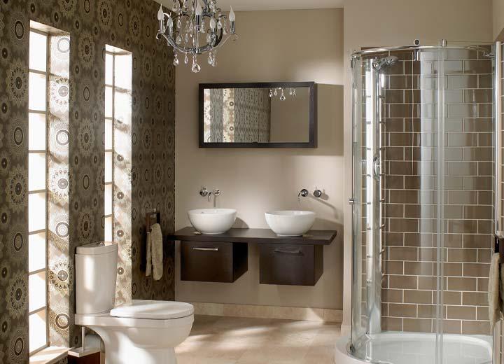 Wallpapered interior home bathroom