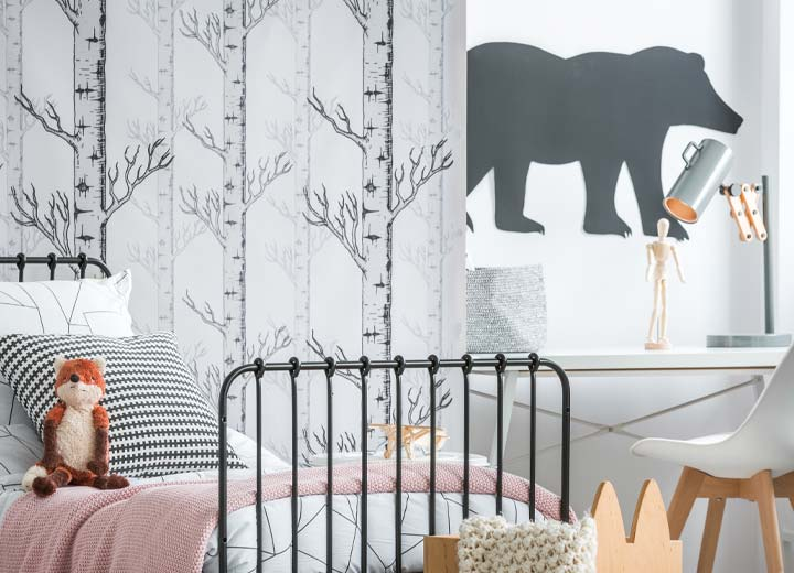 Wallpapered children's room with unique style
